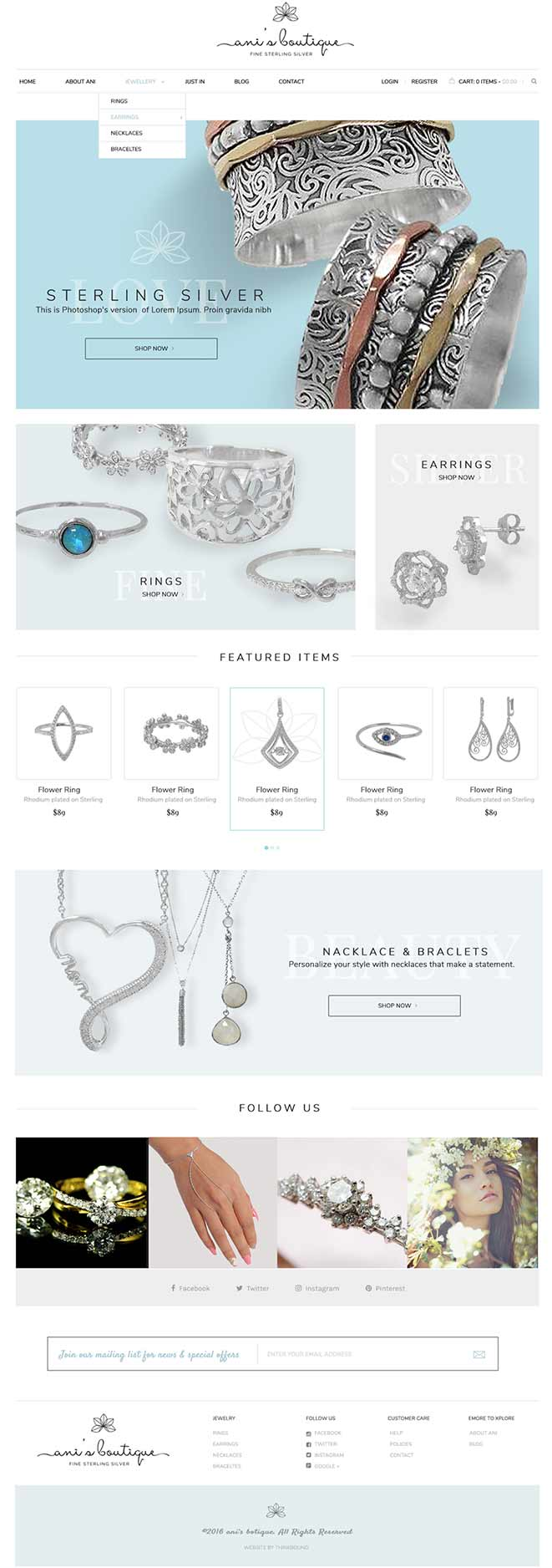 e commerce website design jewelry store