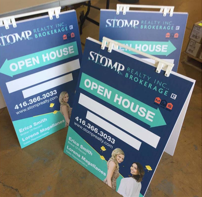 real estate marketing material open house sign stomp