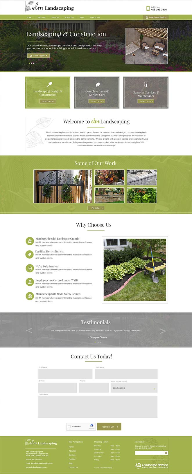 website design elm landscaping