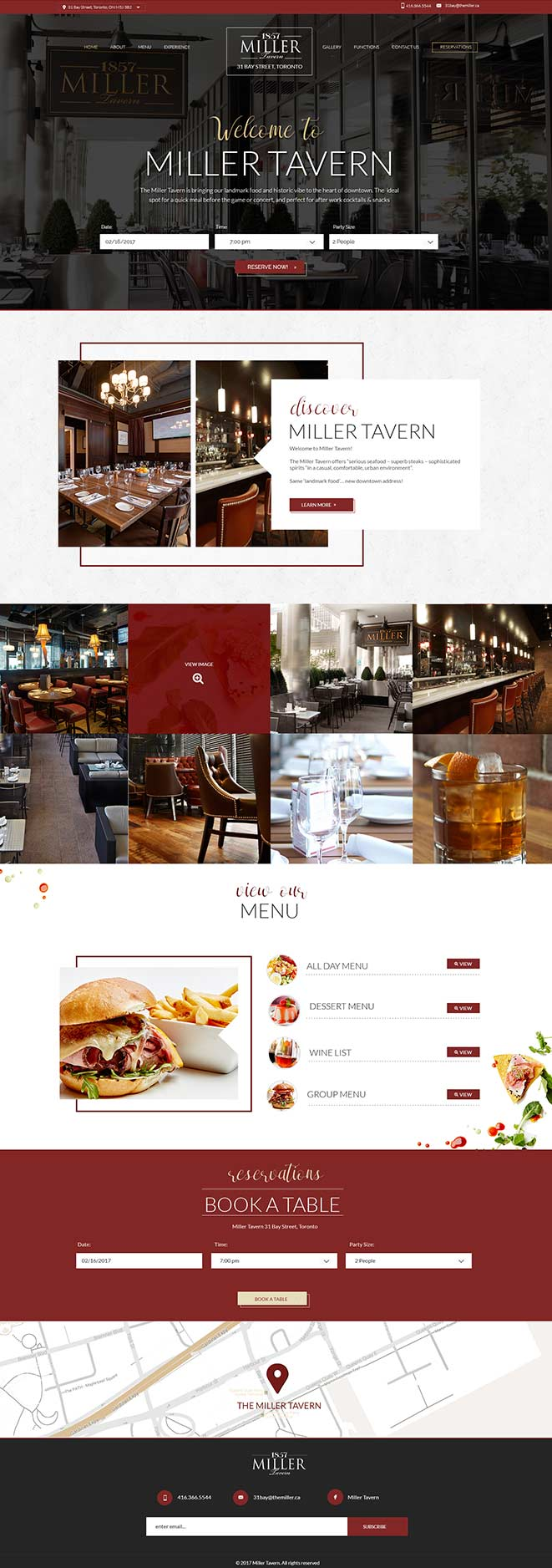 wedsite design the miller tavern restaurant