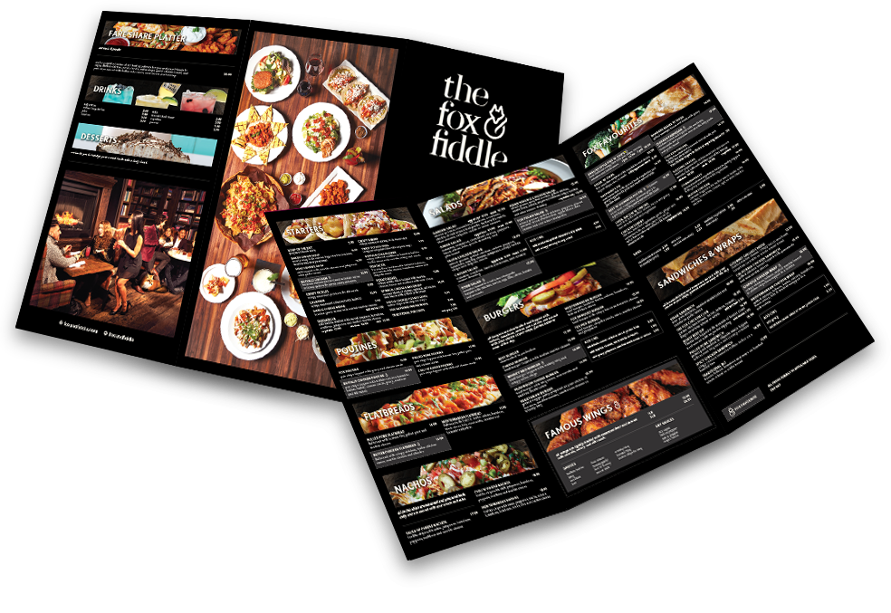 fox fiddle menu design