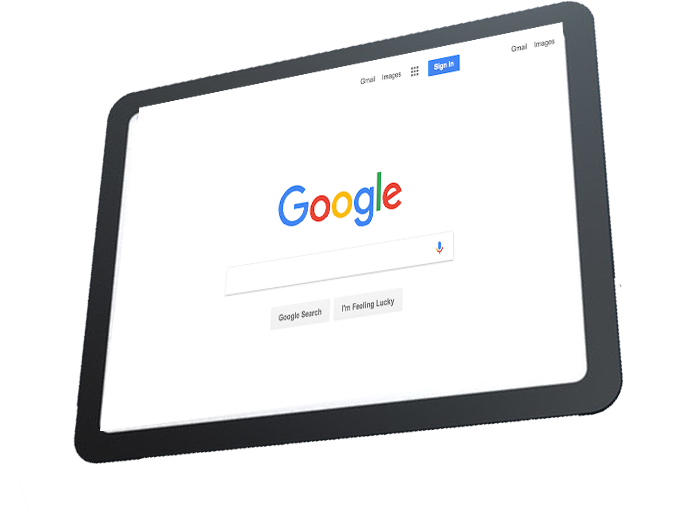 tablet showing google seo search