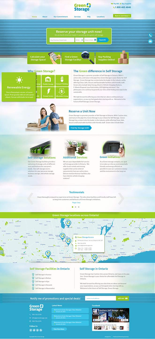 website app storage company green storage