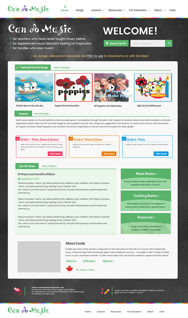 web app childrens music school