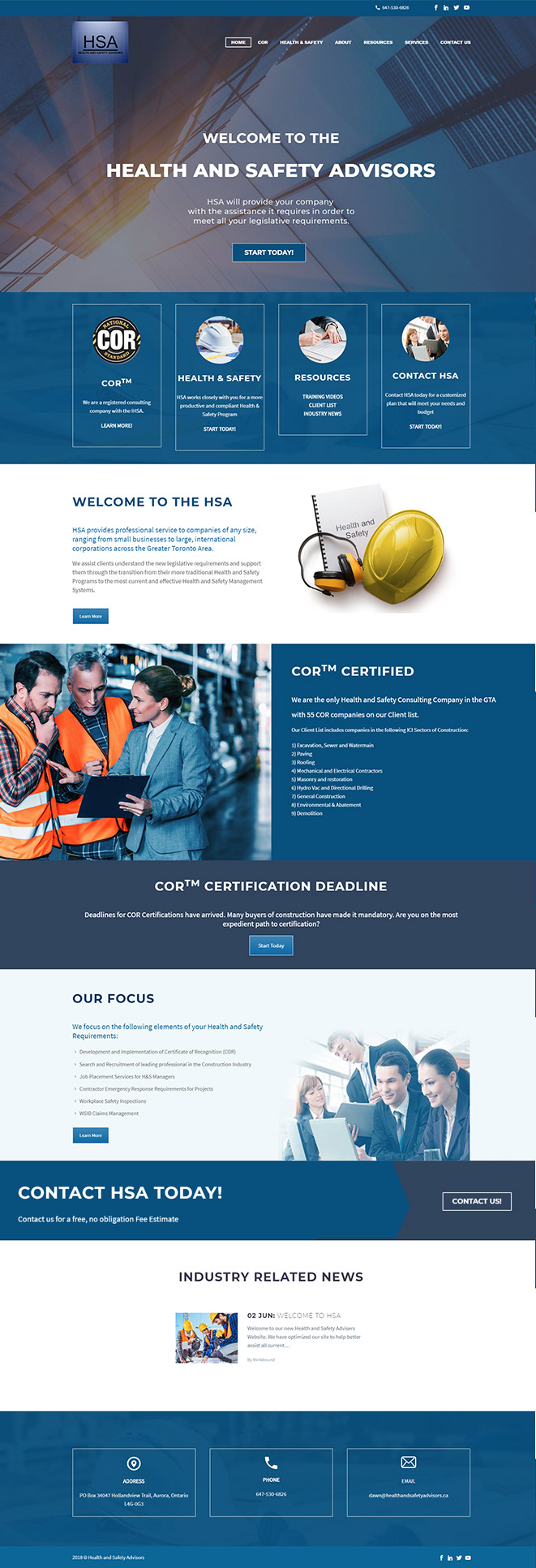 website design health and safety advisers company