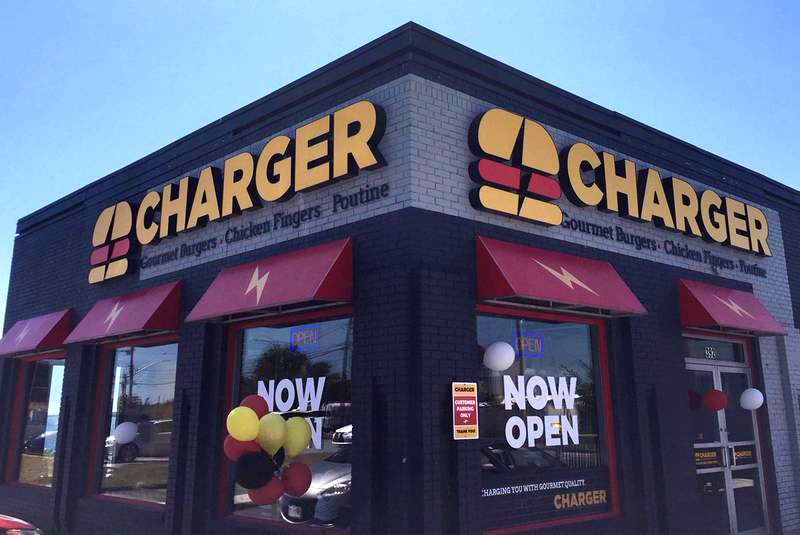 Exterior signage designed by Thinkbound for Charger Burger