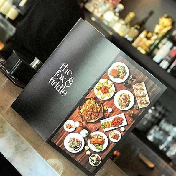 Menu designed by Thinkbound for The Fox & Fiddle restaurants