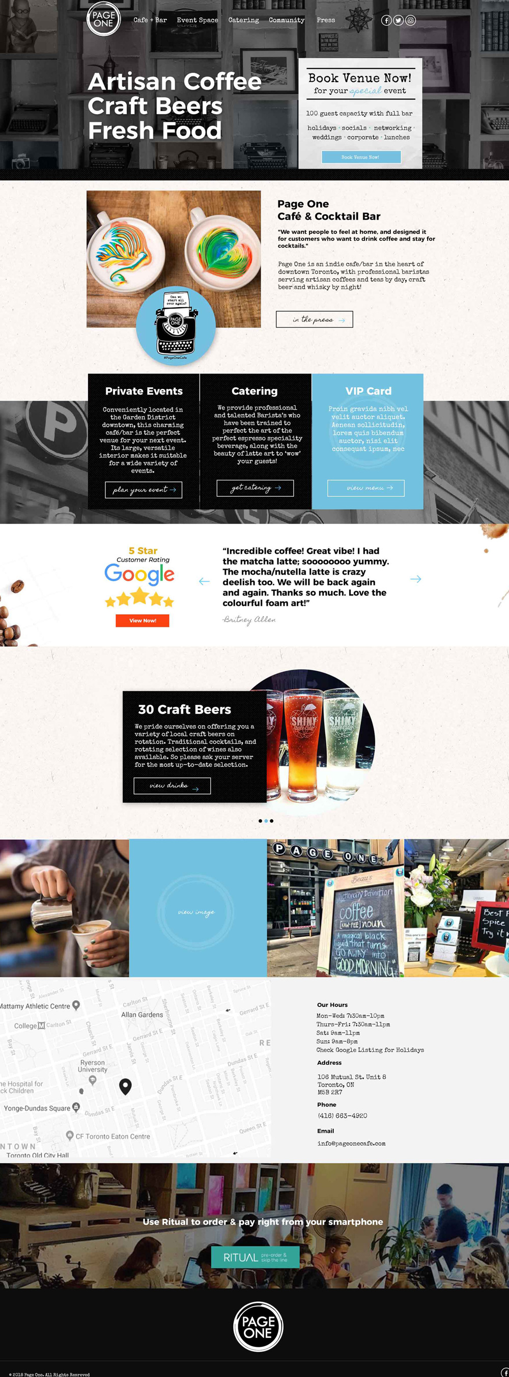 website design coffe shop website page one